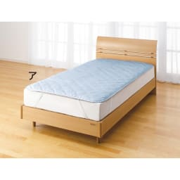 綿生地 ベッドのダニ対策 ダニゼロック ベッドパッド (ア)ブルー