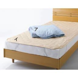 ダニゼロック 綿生地の布団シリーズ お得なベッドセット 【中わた増量ベッドパッド】 やわらかさとサポート性のあるテイジン・ソロテックス(R)わたが入って、ボリュームUP。中わた30%増量!