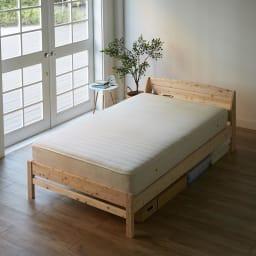 国産無塗装ひのきすのこベッド 国産ポケットコイルマットレス(厚さ23cm)付き