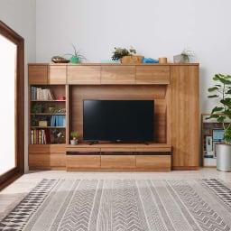 天然木調テレビ台ハイバックシリーズ オープンキャビネット・幅45.5奥行34.5cm コーディネート例(ア)ブラウン