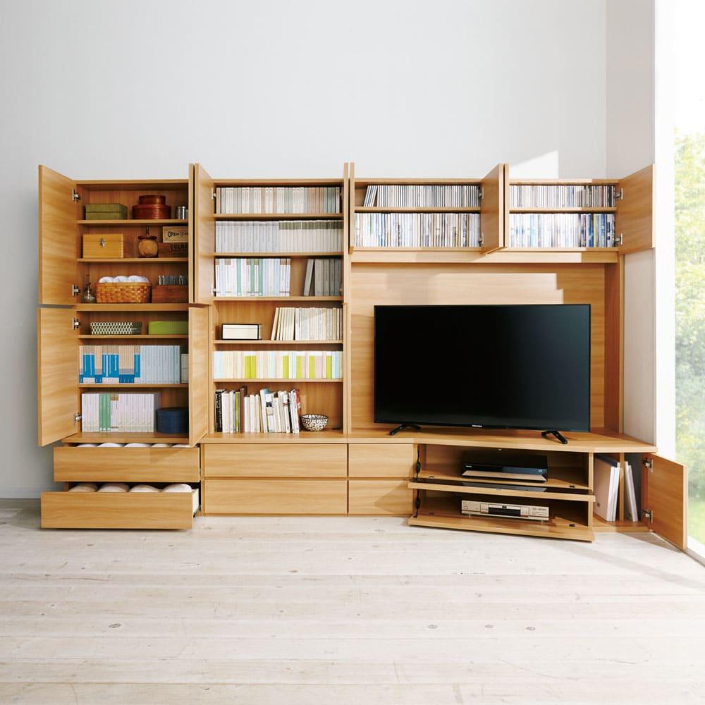 コーナーテレビ台壁面収納シリーズ 幅150cm TV台右壁設置用のコーディネート