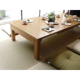 天然木折れ脚伸長式テーブル 幅120cm