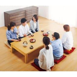 天然木折れ脚伸長式テーブル 幅120cm 中間時 ※写真は幅150cmタイプです。