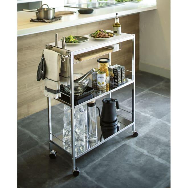 人工大理石天板キッチン作業台 幅68 高さ2段階調節可