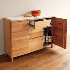 アルダー無垢材キッチン収納 アールシリーズ カウンター 幅120cm