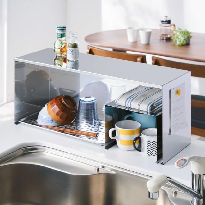 ステンレス製 隠せるカウンター上ラック 水受けトレイ付き 幅60cm 穴あき目皿付きの水受けトレイは取り外して水捨ても簡単。