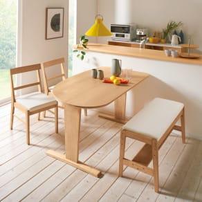 コミュニケーションが豊かになるダイニングシリーズ お得な4点セット(テーブル+2人掛けベンチ+チェア2脚組) 写真