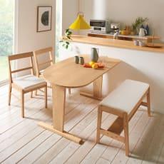 コミュニケーションが豊かになるダイニングシリーズ お得な4点セット(テーブル+2人掛けベンチ+チェア2脚組)