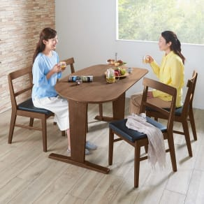 コミュニケーションが豊かになるダイニングシリーズ お得な5点セット(テーブル+チェア2脚組×2) 写真