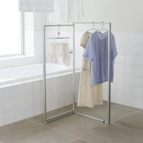 浴室乾燥に! バスルーム専用 コンパクト物干し 2連 写真