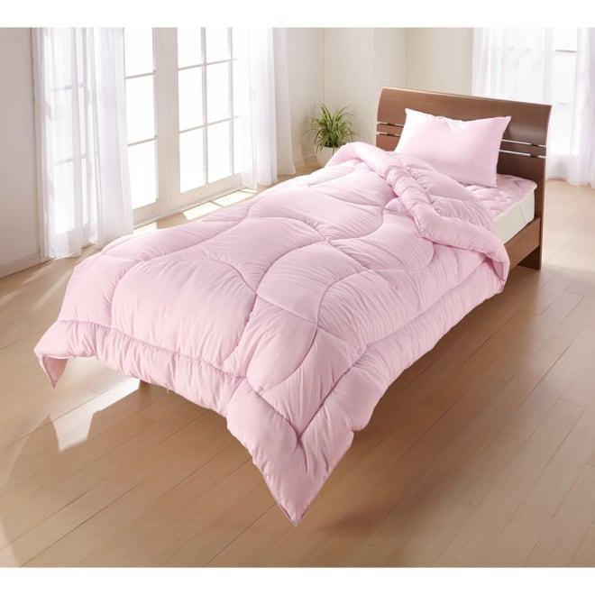 アンチストレス(R)布団シリーズ 掛け布団 (イ)ピンク 掛け布団は軽くて暖かく、モチッと気持ちいい清潔布団。(※清潔機能の枕もあります!)