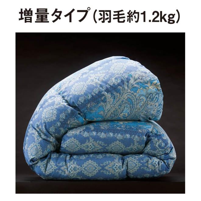 バーゲン寝具シリーズ 羽毛布団(羽毛増量タイプ) シングルロング (イ)ブルー系 羽毛布団は3タイプから選べます。 暖かさで選べる3つのタイプからお選びください。寒い地域や一戸建てには「増量タイプ」で暖かく。