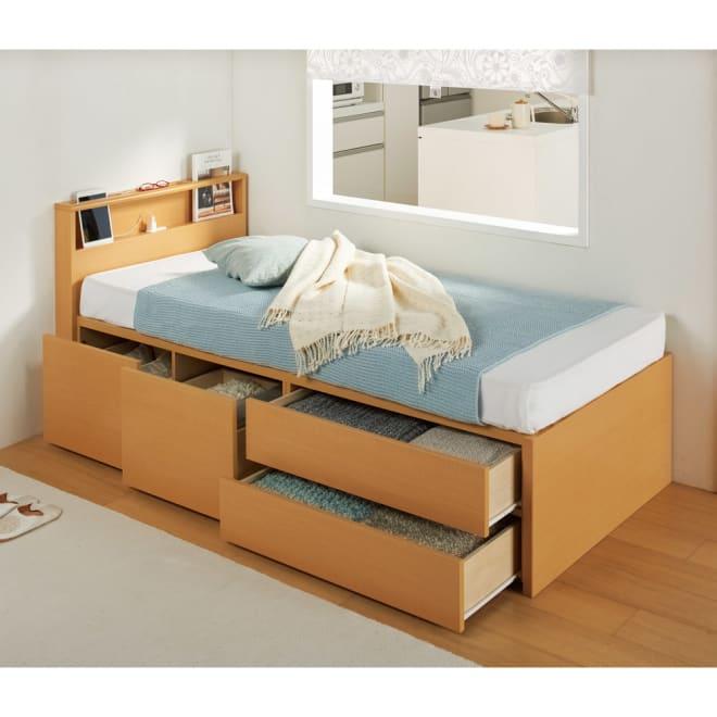 国産マットレス付き棚付省スペースベッド(ショート/レギュラー) (ア)ナチュラル ※写真はショート・幅86cmです。