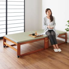 畳空間を簡単に演出できる折りたたみベッド ハイタイプ(棚なし)