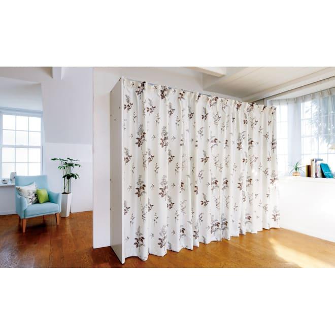 カーテン取り替え自在ハンガーラック 棚なしタイプ・幅128~205cm お部屋の雰囲気やインテリアに合わせてカーテンが簡単に付け替えられます。  ※写真はワイド棚付きタイプです。 ※こちらのカーテンは商品に含まれません。
