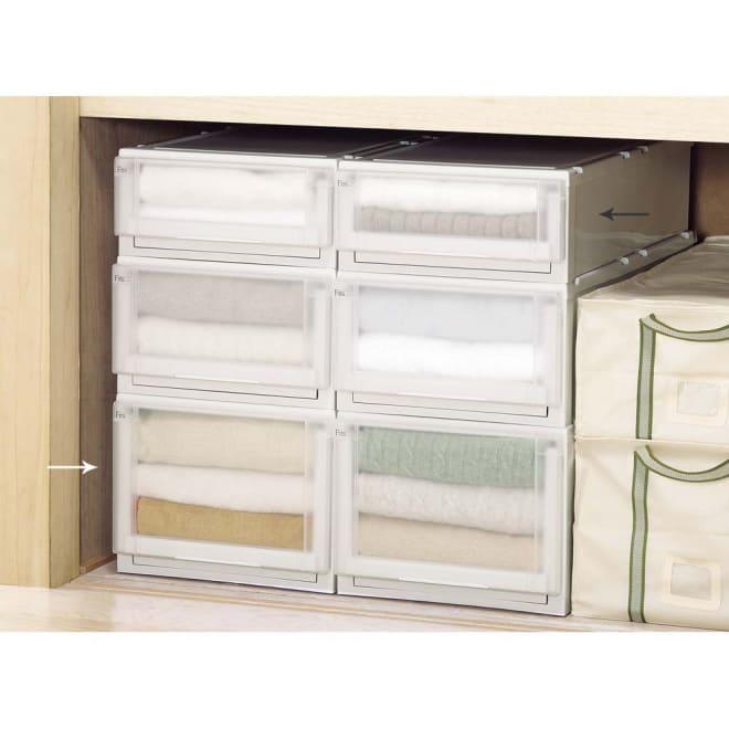 フィッツユニット(Fits unit)収納ケース2個組 【奥行74cmタイプ】幅39・高さ30cm プラスチック製収納ケースの定番といえばフィッツ。多様なサイズ展開と使いやすいさが評判です。押入れ収納にぴったりな奥行74cmタイプ