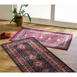 マット・約58×102cm(イタリア製ペルシャ絨毯風ヴィンテージプリントラグ〈オリエンテ〉 レッド) 写真