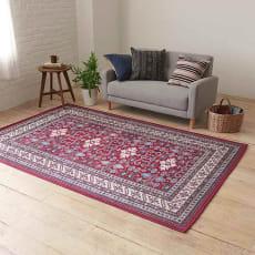 イタリア製ペルシャ絨毯風ヴィンテージプリントラグ〈オリエンテ〉 レッド