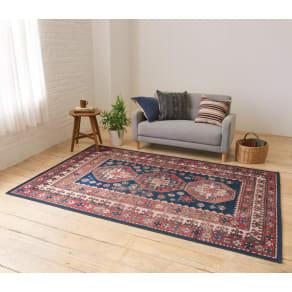 イタリア製ペルシャ絨毯風ヴィンテージプリントラグ〈オリエンテ〉 ブルー  写真