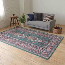 イタリア製ペルシャ絨毯風ヴィンテージプリントラグ〈オリエンテ〉 グリーン