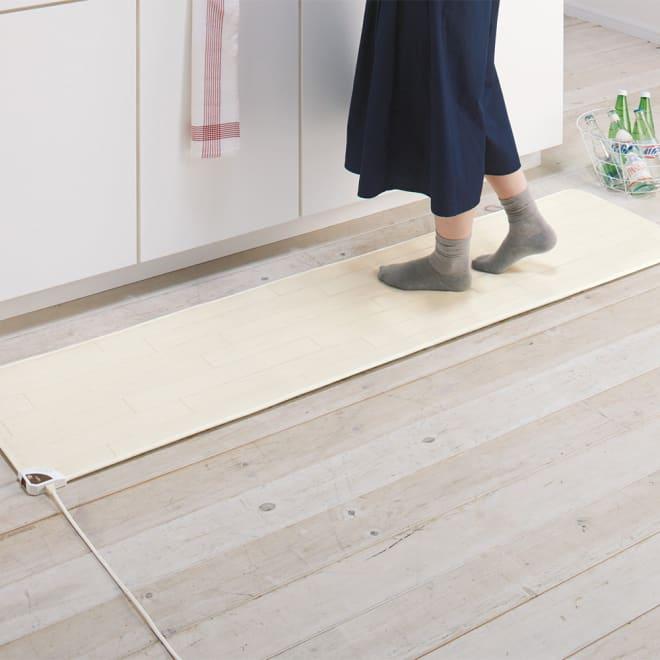 ホットキッチンマット 幅45cm (ウ)ホワイトウッド