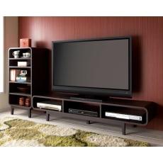 曲面加工のラウンドシェルフシリーズ テレビ台1段3連 幅165cm高さ34cm 脚付きタイプ