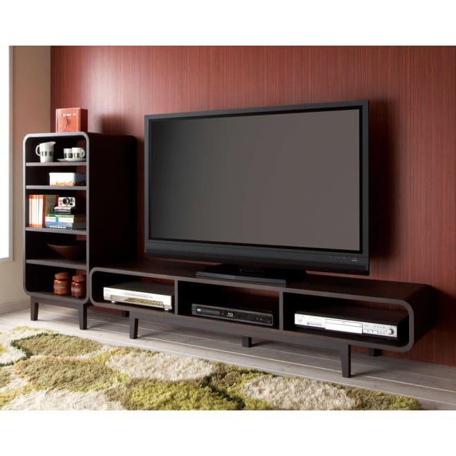 曲面加工のラウンドシェルフシリーズ テレビ台1段3連 幅165cm高さ34cm 脚付きタイプ オープンシェルフと組み合わせてお洒落なAVコーナーに。 ※お届けはテレビ台です。