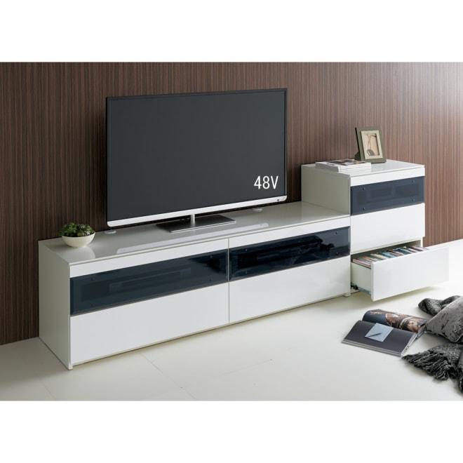 パモウナBW-160 輝く光沢のモダンリビングシリーズ テレビ台 幅160cm (ア)ホワイト ※写真は(左)テレビ台・幅160cmタイプ、(右)キャビネットです。