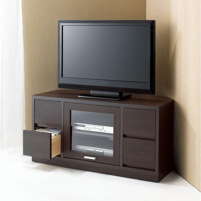 角度が自由自在の収納充実コーナーテレビ台 幅100高さ50cm (使用イメージ)(ア)ダークブラウン