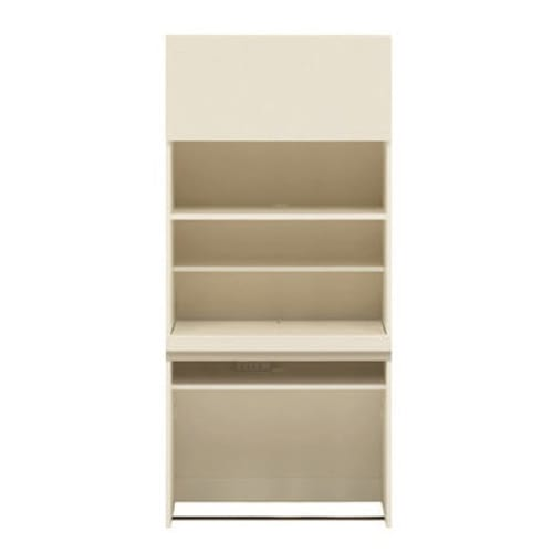 【パモウナ社製】毎日の使いやすさを考えた収納システム 収納棚付きパソコンデスク(机)幅80cm (ア)ホワイト ※お届けする商品です