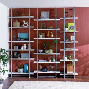 【日本製】棚板を無段階に調整できる突っ張りモダンラック 幅59.5cm・6段 写真
