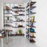 【日本製】棚板を無段階に調整できる突っ張りモダンラック 幅89.5cm・6段 写真