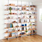 【日本製】棚板を無段階に調整できる突っ張りモダンラック 幅89.5cm・8段 写真