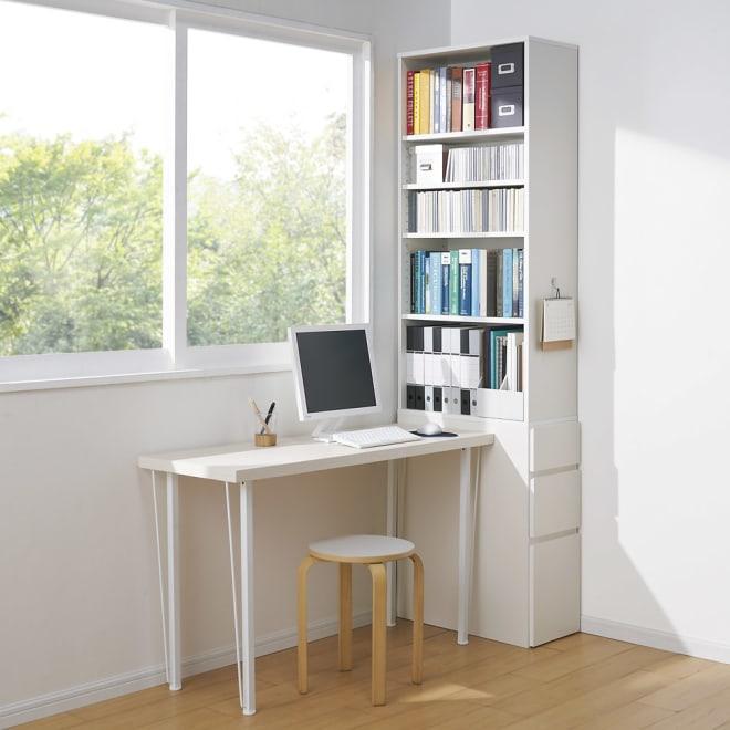 デスクサイド収納ラック 幅30奥行61.5cm (高さ150/180/210cm) (ア)ホワイト ※写真は高さ210cmタイプです。
