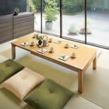 天然木折れ脚伸長式テーブル 幅120cm 写真