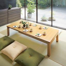 天然木折れ脚伸長式テーブル 幅120cm コーディネート例(イ)ナチュラル 最大時(170cm)