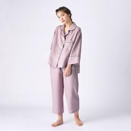 フレンチリネンのパジャマ  着用イメージ(ア)グレイッシュピンク