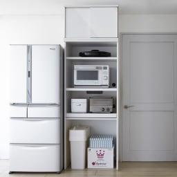 大型パントリーシリーズ レンジラック 下オープン 幅75.5cm 限られたスペースに家電をまとめて、効率よく収納。