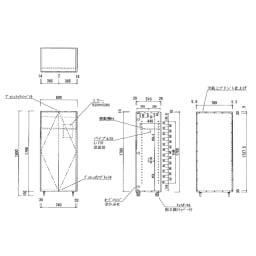 移動式間仕切りクローゼットハンガー ミラー扉タイプ・ハンガー2段 内部の構造図(単位:cm) ※ハンガーパイプ径・・・25mm