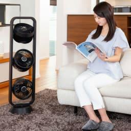 自動首振り機能付き 3連マルチファン エアコンの強い風が苦手な方にも最適。