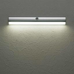 人感センサー足元LEDライト お得な2個 (ア)のシルバーは昼白色。雰囲気に合わせ、お好みの光を選べます。