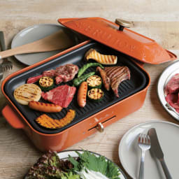 BRUNO/ブルーノ コンパクトホットプレート 本体単品+深型鍋+グリルプレートセット ディノス特典付き (カ)数量限定カラー オレンジ