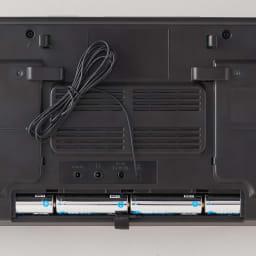 壁掛けCDプレーヤー ムーミンモデル 背面部。単三乾電池6本(別売)を使用すればコードレスでの使用も可能。