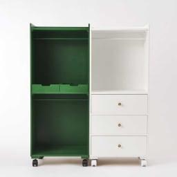 ペットの洋服収納ハンガーラック ラック2段タイプ (イ)グリーン ※お届けは左側の商品です。