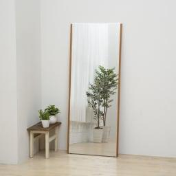 割れない軽量フィルムミラー プレミアム 天然木フレーム (ア)ナチュラル ※写真は幅60高さ150cmです