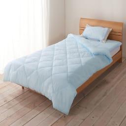 テンセルTM &ガーゼ寝具シリーズ お得な掛け敷きセット(コンフォーター+敷きパッド+ピローパッド) (イ)ブルー コーディネート例