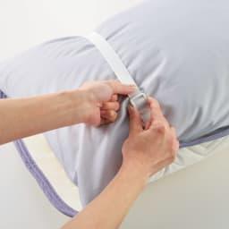 西川×ディノス クールコットン寝具シリーズ ピローパッド(同色2枚組) 普通判 ピローパッドはアジャスター付きのゴムバンドで、お使いの枕に合わせて調節できます。