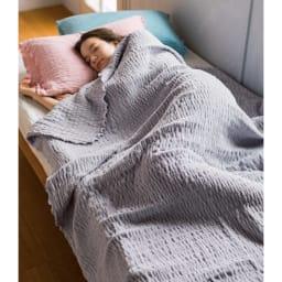 ふわふわ感が長く続く 新・くしゅくしゅ&ふわふわタオル寝具シリーズ タオルケット (イ)グレー