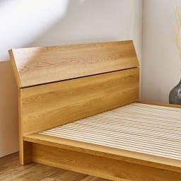 天然木調ヘッドボード付き細すのこローベッド(ボンネルコイルマットレス付き)