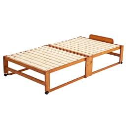 折りたたみ式ひのきすのこベッド ワイドシングルハイ (イ)ブラウン ※写真はワイドシングルハイタイプです。